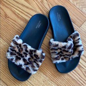 Urban outfitters furry cheetah slides